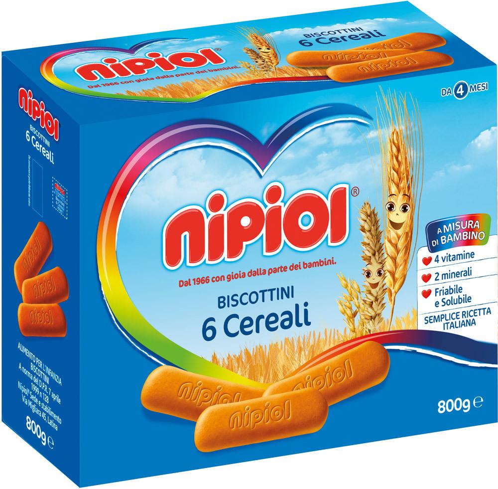 800g Nipiol Biscottini 6 Cereali 4 Vitamine 2 Minerali